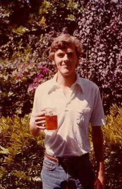 The author with beer, 1979. Photo: Mark Osborn.