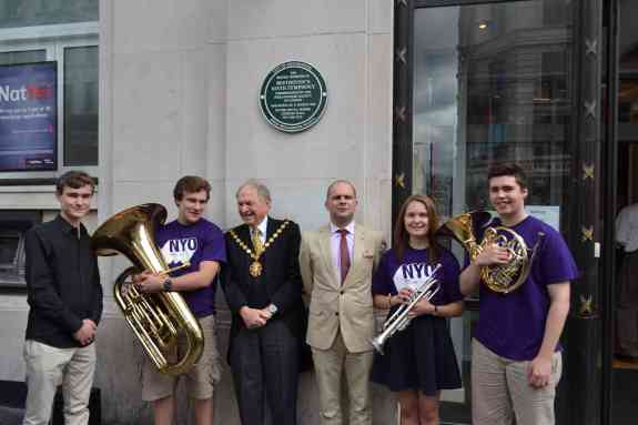 ltor  composer Bertie Baigent Cllr Michael Braham and John Gilhooly Chairman of the Royal Philharmonic Society with members of the National Youth Orc