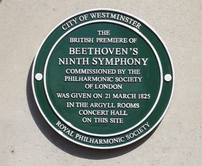 Westminster Green Plaque on the site of first UK performance of Beethoven's 9th Symphony 252 Regent Street London