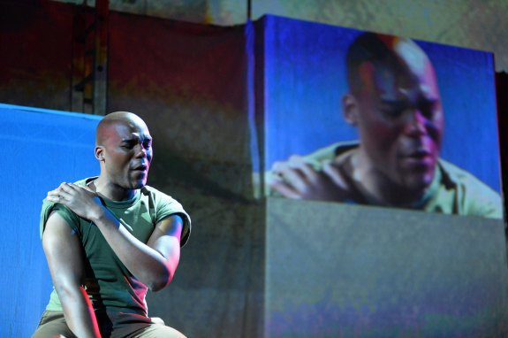 "LaMarcus Miller (Philip) sings in Long Beach Opera's production of Tobin Stokes' ""Fallujah."" Keith Ian Polakoff"