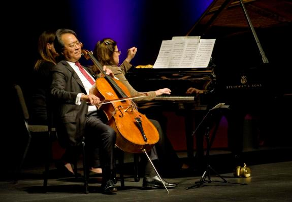 Yo-Yo Ma (Cello) and Kathryn Stott (Piano) perform the 'Arc of Life' Suite at Segerstrom Hall in Costa Mes on Saturday night. . ADDITIONAL INFORMATION ///// yoyoreview.0515 5/14/16 Photo by Nick Koon / Staff Photographer. Yo-Yo Ma and Kathryn Stott perform at the Philharmonic Society's Gala on Saturday, May 14th.